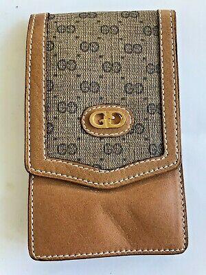 Vintage Authentic GUCCI GG Logo Tan Leather Unisex Card Case Excellent Condit.