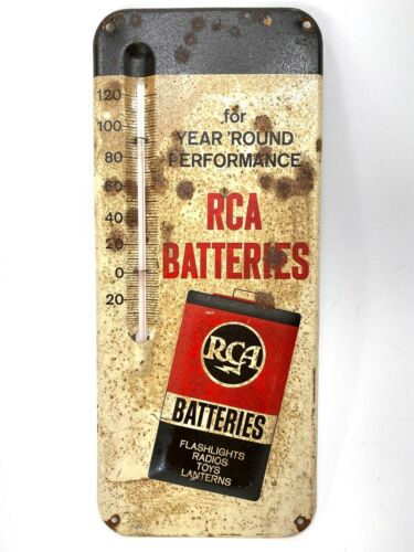 Vintage Embossed RCA Batteries Thermometer Advertising Sign Tube Record 1P1052