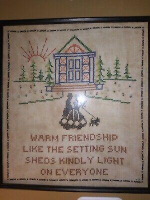 Antique Framed Cross Stitch Welcome Guests 1920s Sampler Art Original