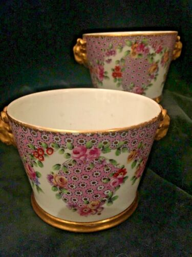 Sevres Matched Pair of Porcelain Hand-Painted Jardiniere or Cache Pots