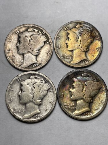 1925 D S And 1927 D S Lot Of 4 Better 90 Silver Mercury Dimes Make An Offer  - $19.99