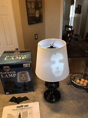 Halloween Spirit Haunted Lamp Speaks w/Ghostly Image-Lights-Complete w/Box-NICE