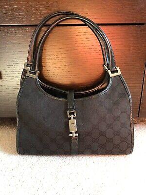 GUCCI Jackie O Shoulder Tote Hobo Satchel Bag GG Pattern Black Canvas Leather