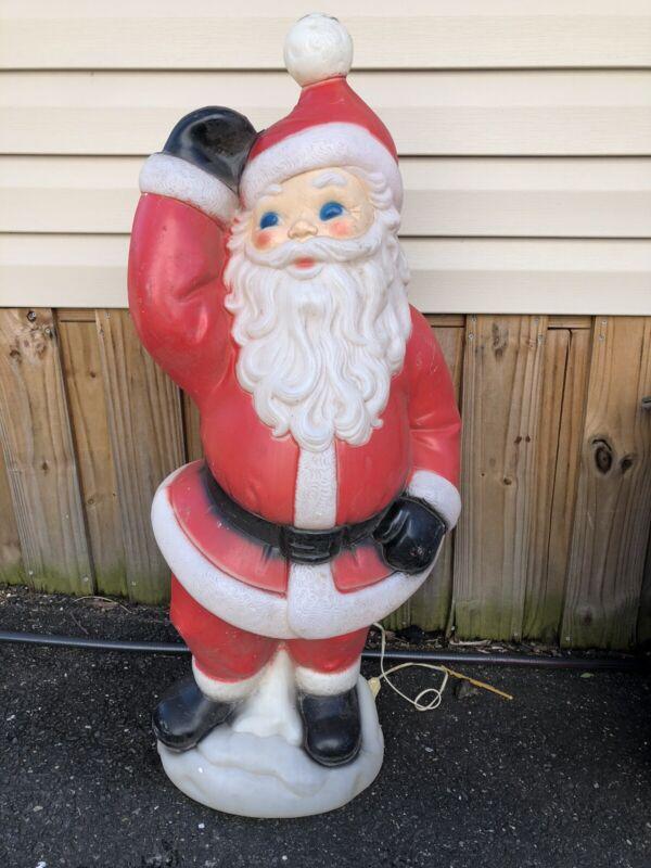 "Vtg 1970s General Foam Plastic Blow Mold 40"" Santa Claus Christmas Light Up Old"