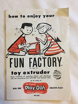 PLAY-DOH ~ Fun Factory Toy Extruder ~ Vintage Original Booklet Insert ~