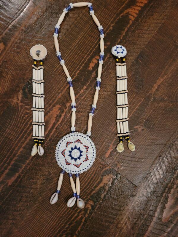 Lakota Medallion Necklace Earrings Set Vintage Perfect