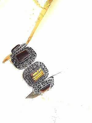Vintage Handmade Silver Finish Genuine Tiger's Eye Toggle -