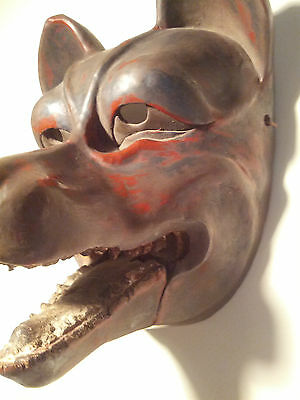 Antique, Danced, w/Patina Japanese Kitsune (Fox) Mask w/Articulating Jaw -SIGNED