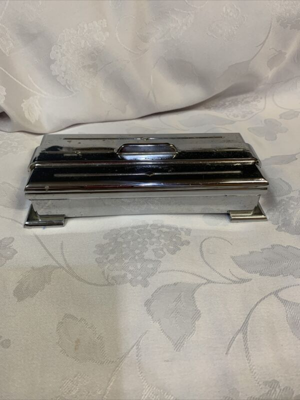 "Art Deco Chrome Cigarette Box 7405 & 7406 Black Inside 8"" Dresser Trinket"