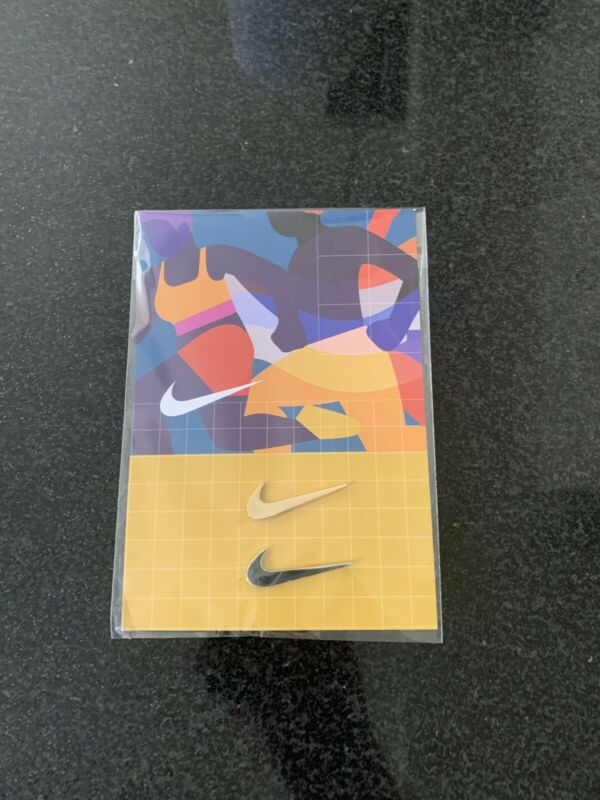 Nike Swoosh Lapel Pins (2) Gold And Silver