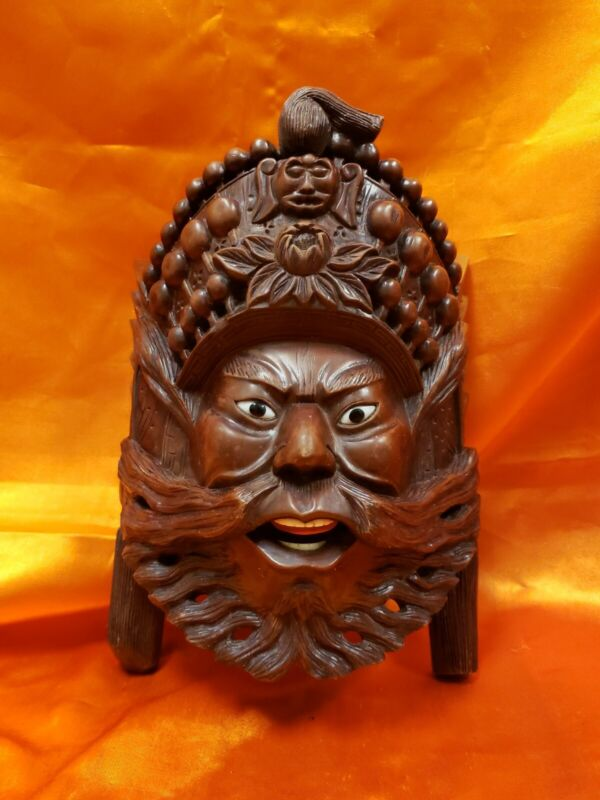SOLID CARVED WOOD ORIENTAL MASK WALL PLAQUE SUPER NEAT !!!