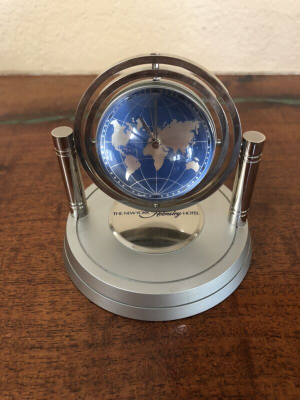 WORKS! Helmsley Hotel New York World Map Globe CLOCK Sphere Leona Harry