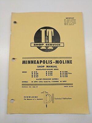 Minneapolis Moline Vi 705 706 707 708 900 950 G- 1000 Vista 1050 1350 Manual