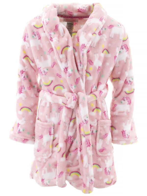 Rene Rofe Girls Unicorns Pink Fleece Bathrobe