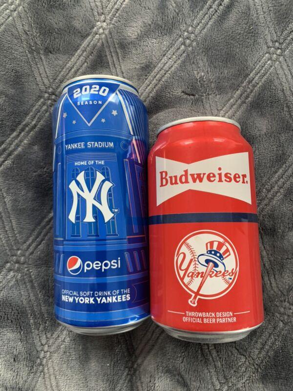 NY YANKEES 2020 Empty B/O 16oz Pepsi Can & 2019 Budweiser Empty B/O 12oz Can