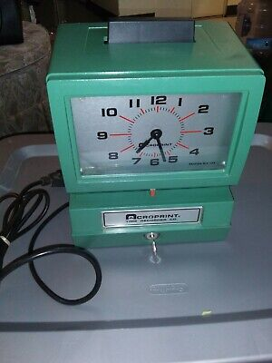 Acroprint Time Recorder Co. Time Clock Model 125nr4 With Keys. Works Great
