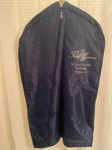Tom James Blue Striped Nylon Garment Bag EUC