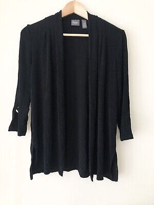 Chicos Travelers Black Gold Ring 3/4 Sleeve Jacket Cardigan Medium Size 1 Defect
