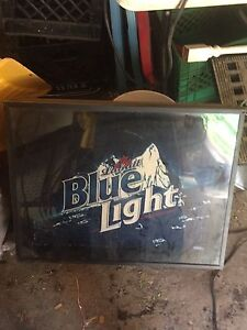 Blue light beer sign. 75obo  great for the man cave