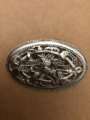 Traditional Scottish/Celtic Knot Vintage Silver Thistle Oval Suit Brooch/Pin