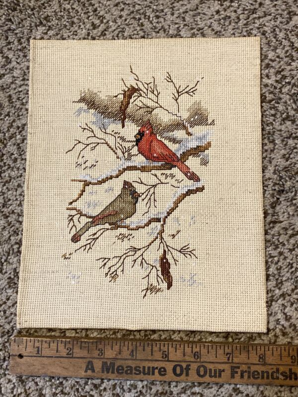 Vintage Completed Cross Stitch Male Female Cardinal Bird Snowy Branch Tree