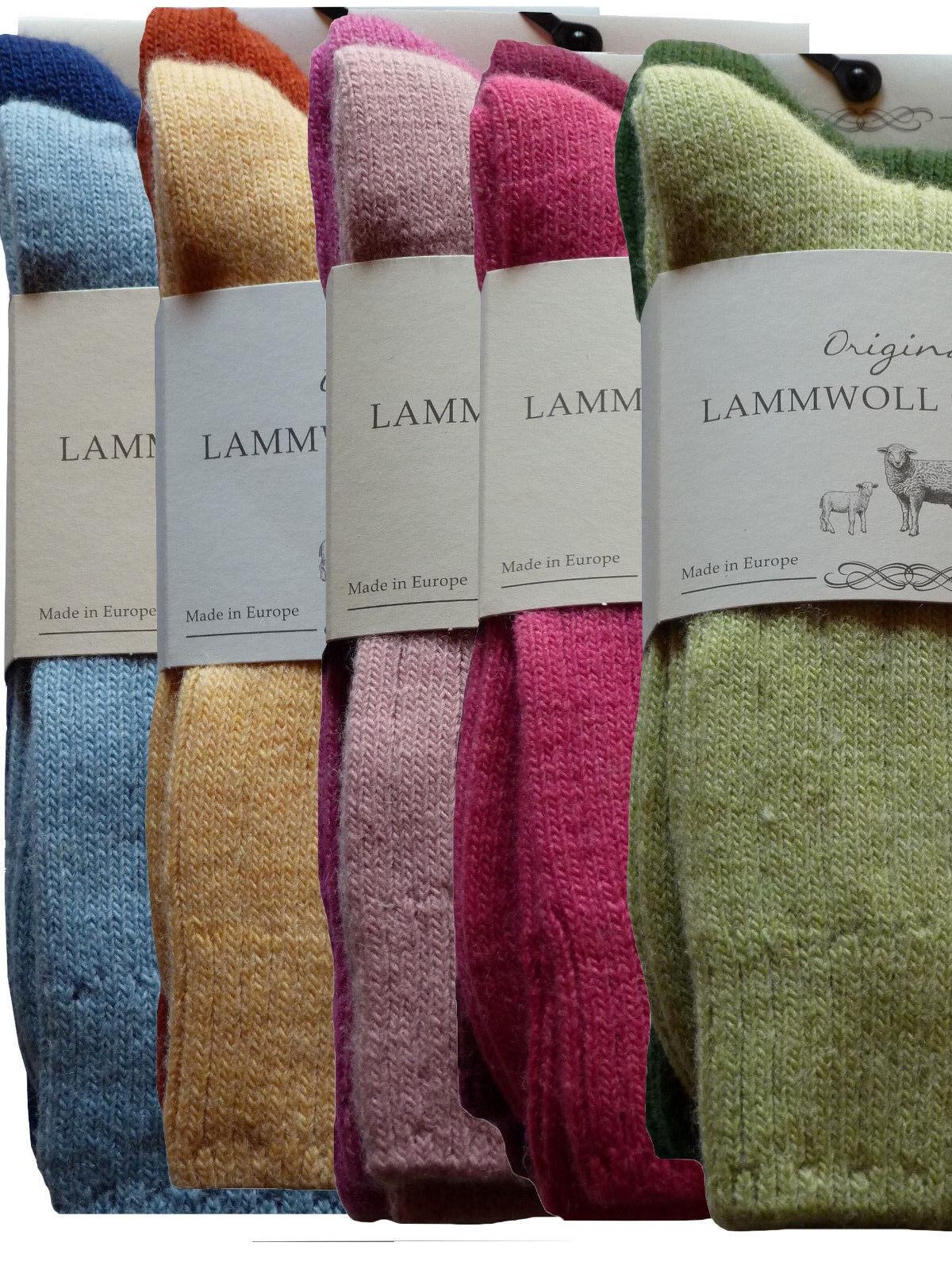 2 Paar Damen LAMMWOLL SOCKEN Wollsocken Schurwolle farbig extra warm Gr. 35-42