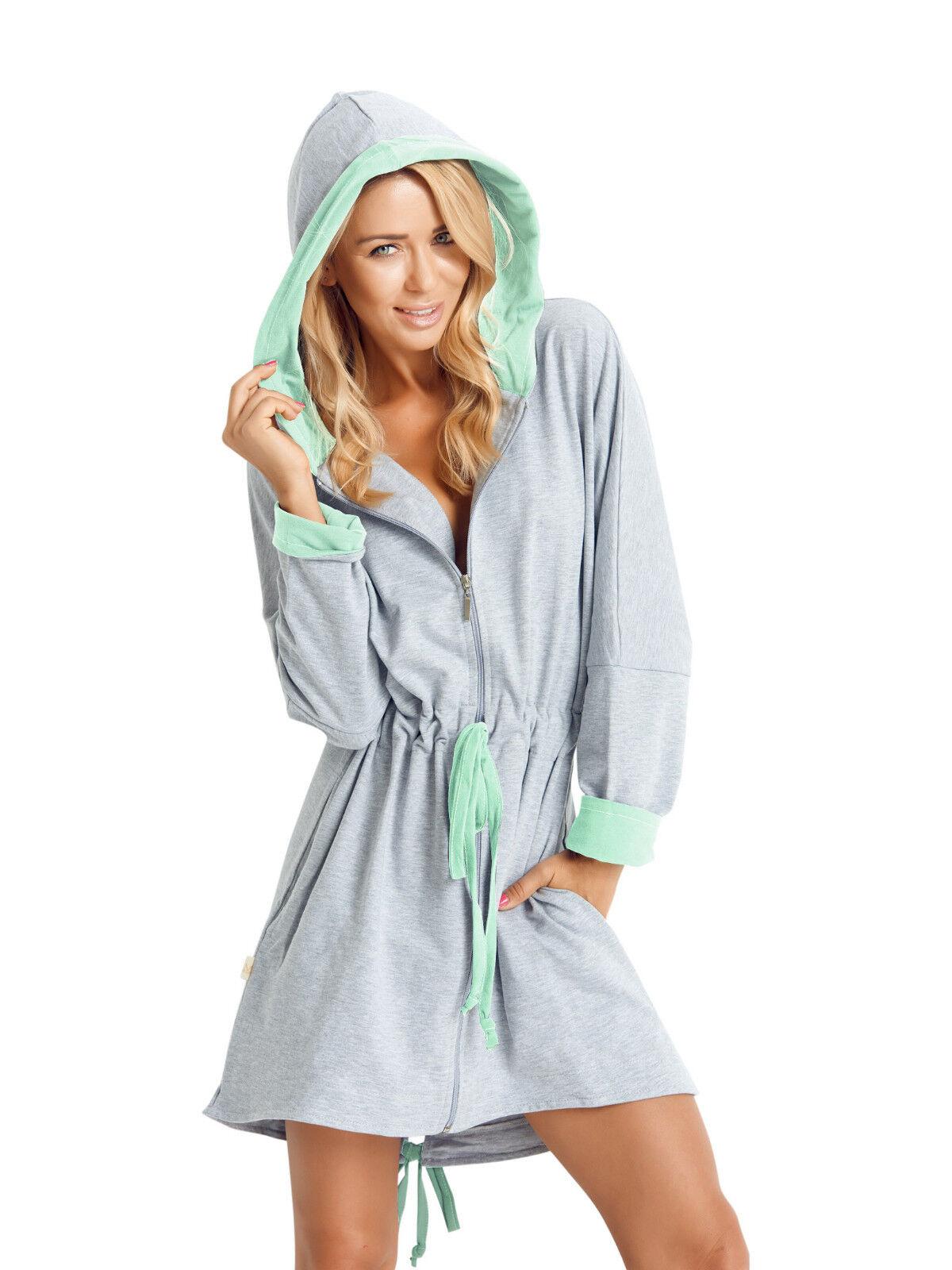 Womens Girls Short Length Hooded Dressing Gown Housecoat Zip Up