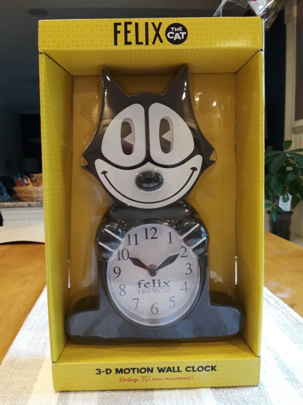 FELIX The Cat Animated 3-D Motion Wall Clock, Eyes / Tail Swing - NEW - NJ Croce