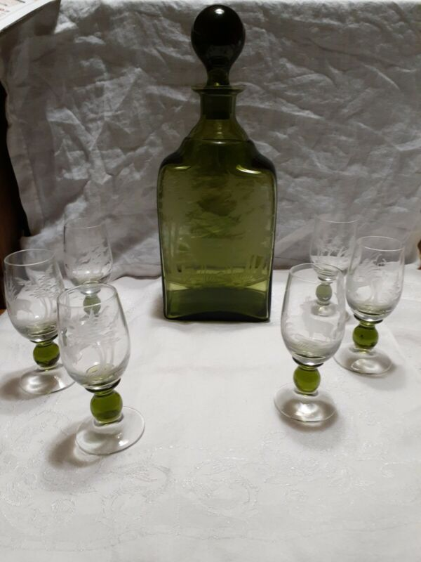7 Piece Austrian Etched Decanter with 6 glasses