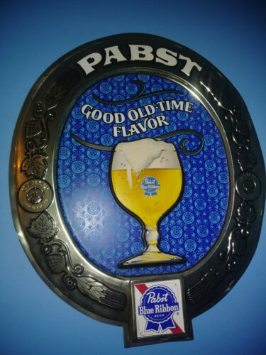 VERY RARE Large Vintage Pabst Blue Ribbon Beer Good Old-Time Flavor Sign