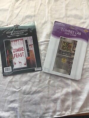 Easy Scary Halloween Decorations (HALLOWEEN HAUNTED HOUSE EASY SPOOKY SCARY SCENE SETTING DOOR COVERS Set Of 2)