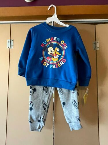 New Boys Outfit Mickey Mouse Shirt Sweat Pants Set Disney Junior size 2T NWT