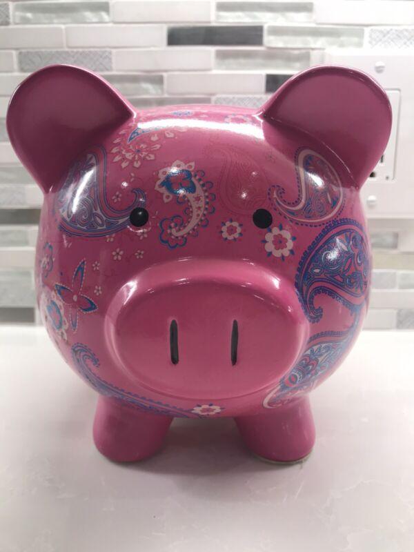 "Pink Ceramic Piggy Bank w/ Paisley 7""x 9"""