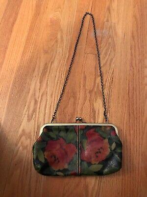 Patricia Nash Floral Purse/Handbag Leather Cross Body Chain Strap Roses Vtg Chain Floral Cross