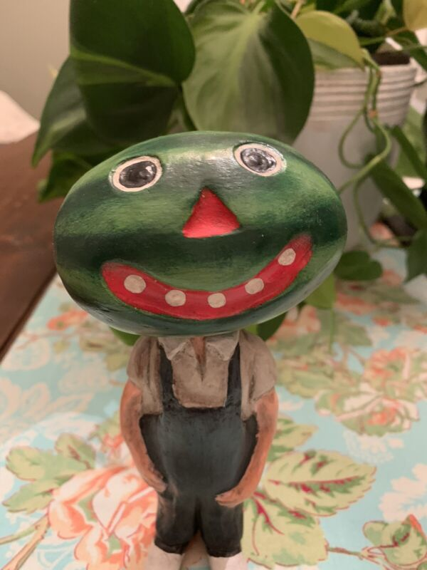 Anthropomorphic PAPER MACHE Halloween WATERMELON BOBBLE HEAD BOY SILVER WILLOW