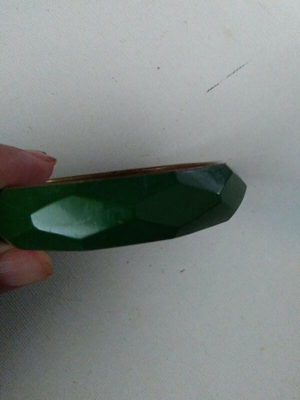 Art Deco Green Bangle Bracelet Medium Size Unique Design