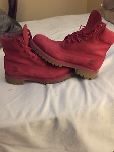 """All red timberland 6"""" boots"""