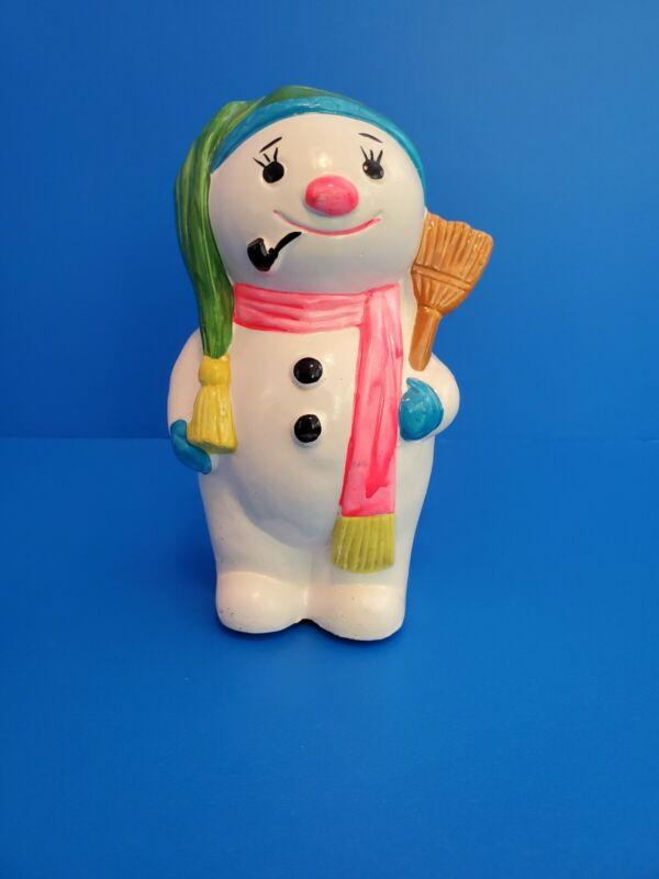VTG Hand Painted Ceramic Snowman Bank Rubber Stopper Made in Japan