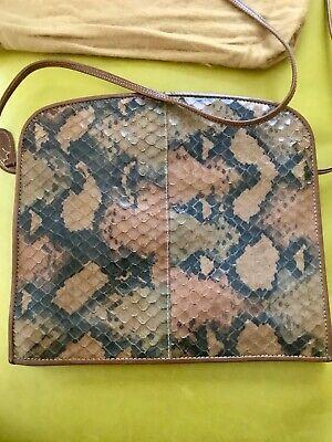 Vtg FENDI c. 1985 Leather Python Purse Bag Italy Dust Cover Authentic