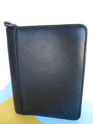 Compact 1.25- Rings Black Grain Leather Franklin Covey Planner Binder Zip