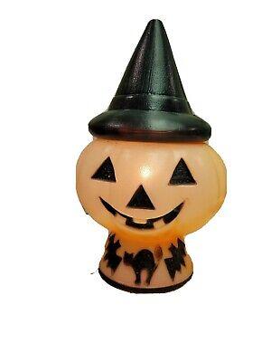 Vintage Halloween Blow Mold Pumpkin Witch Hat Cat Bat Base