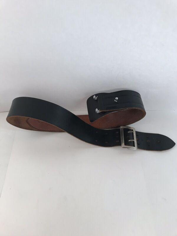 Vintage Bucheimer Leather Police Belt Size 34-40 Black