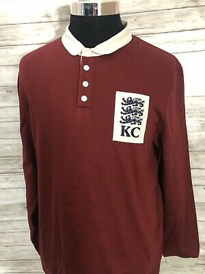 NEW! Kent & Curwen England Men Long Sleeve Polo Rugby Shirt Large Red N70