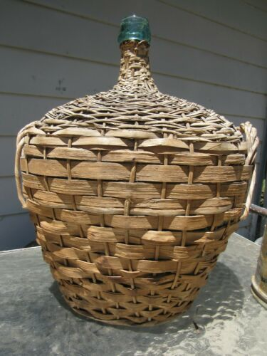 Massive French Glass Demijohn Bottle Woven Wicker Bottle Antique Hand Blown