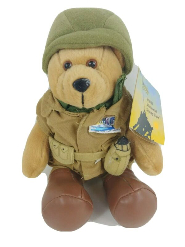 National WWII Memorial Stamp Bear USPS 2004 Timeless Toys