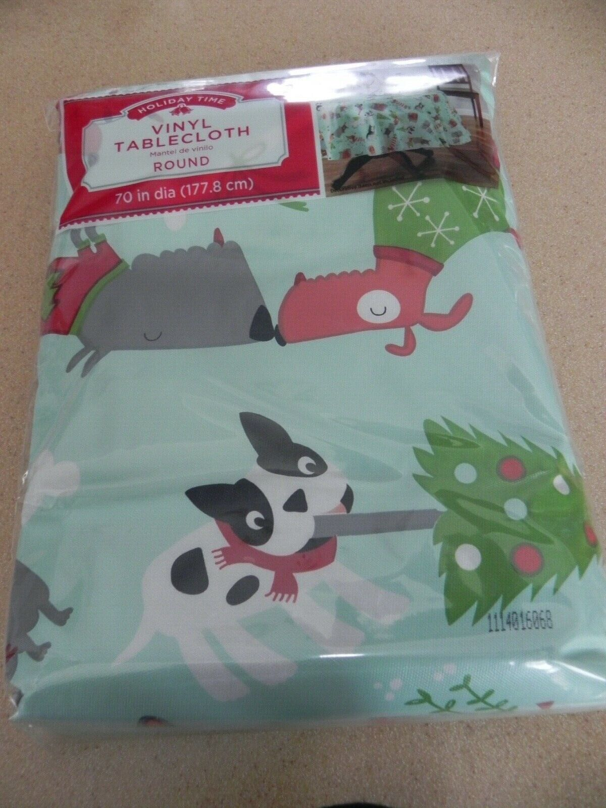 NIP Christmas Tablecloth Vinyl Cat Dog Puppy Kittley 70 Round NEW - $4.00