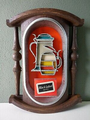 VINTAGE BLACK LABEL BEER CARLING BREWING CO MID CENTURY ADVERTISING BAR SIGN