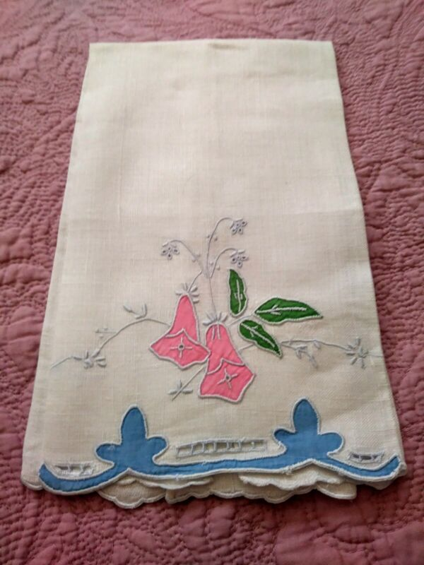 """Beautiful Madeira Floral Applique & Embroidered Linen Hand Towel 22""""x13"""" # 3"""