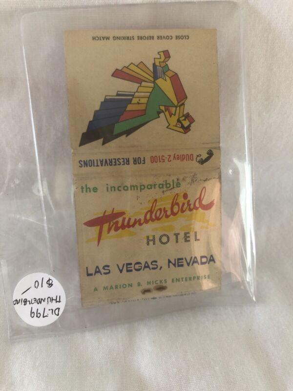 New Vintage Las Vegas Matchbook Thunderbird Hotel Unstruck