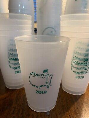 Frosted Plastic Cups (2019 Official Masters Golf Frosted Plastic Drink Cup Tiger Woods)